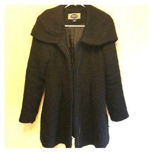Black, woven wool jacket, medium